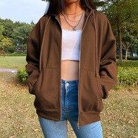 Sudaderas con capucha para mujer, chaqueta de gran tamaño con cremallera y bolsillos clásicos para otoño, sudadera de manga larga con estética Y2K, color marrón, 2021