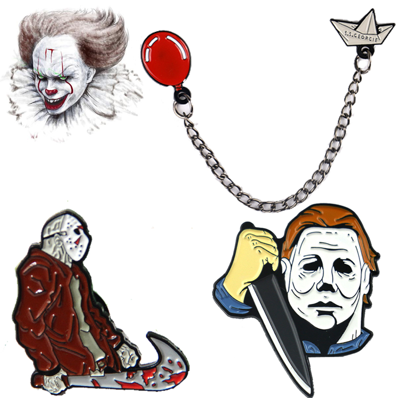 Pennywise It: Chapter Two We All Float Down Here! Enamel Brooch Pins Cosplay Props Halloween Jason Voorhees Badges