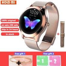 KW10 akıllı saat kadın IP68 su geçirmez kalp hızı izleme Bluetooth Android IOS için spor bilezik Smartwatch