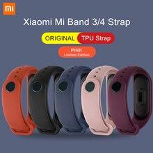 Xiaomi Mi Band 3 4 5 oryginalny pasek na rękę różowy edycja limitowana kolorowe silikonowe TPU bransoletka dla Mi Band 3/4/5 inteligentne nadgarstek