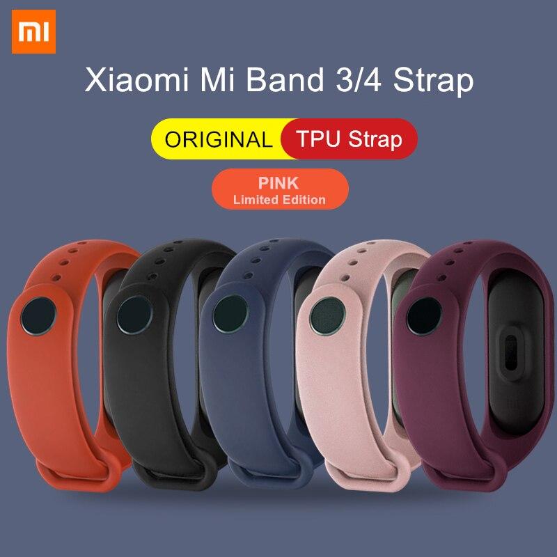 Xiaomi Mi Band 3 4 Original Wrist Strap Pink Limited Edition Colorful Silicone TPU Bracelet for Mi Band 3/4/NFC Smart Wristband(China)