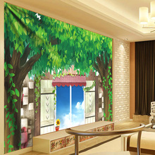 Anime Forest Tree Tapestry Living Room Decorative Wall Hanging Boho Dorm Decor Green Leaves Plant Hippie Psychedelic Tapestries