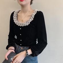 ¡Me encanta! Diseño Vintage blanco encaje dobladillo O cuello negro velour superior Mujer camisa delgada Puff manga Blusa Chemise Femme Blusa Mujer