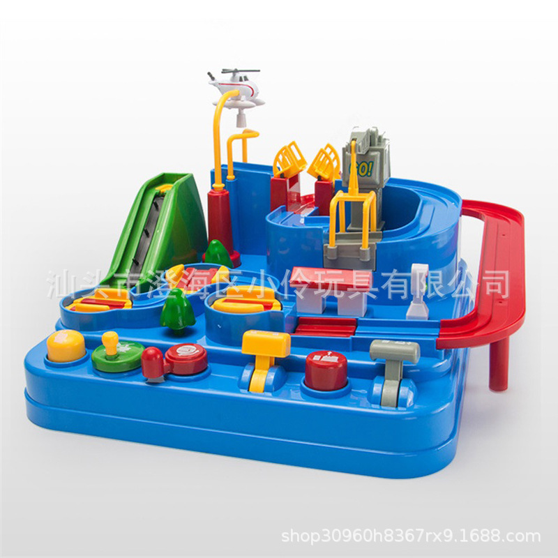 Douyin Celebrity Style Car Adventure Rail Car Toy Inertia Train Children'S Educational Parent And Child Interactive Toy