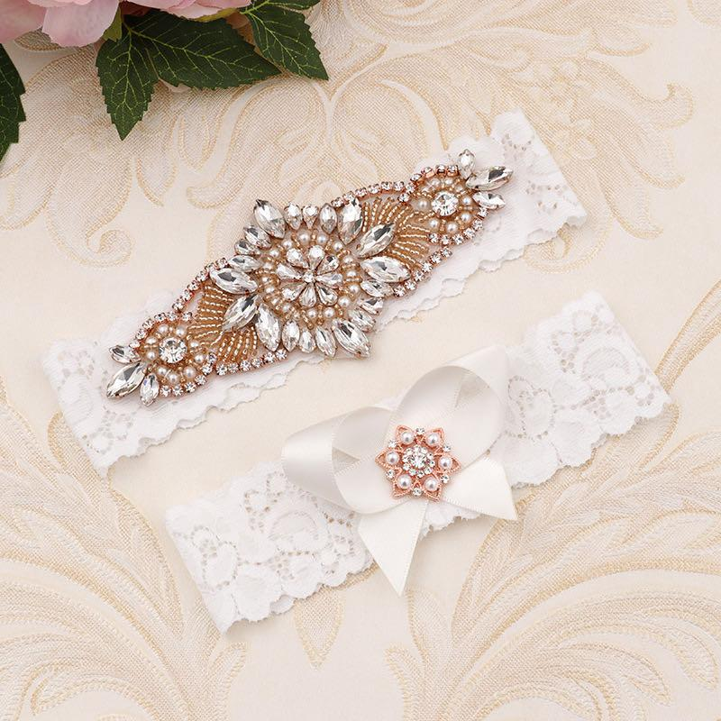 Wedding Garter Rose Gold Leg Ring Lace Sexy Garters Pearl Crystal Rhinestones Thigh Rings Women Bride Accessories Bridal Jewelry