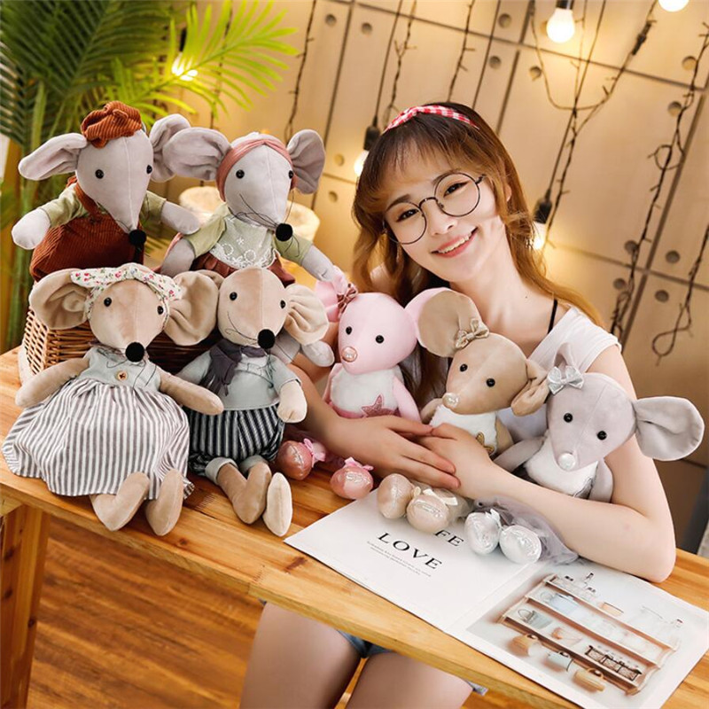 42CM Cute Ballet Mouse Plush Toys Lovely Dressing Cloth Animal Mouse Dolls Stuffed Soft Baby Toys Birthday Christmas Gifts