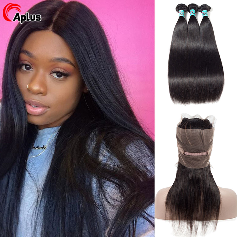 Aplus Hair Malaysian Straight Human Hair Bundle With 360 Frontal 100% Remy Human Hair 360 Preplucked Frontal  With Bundles