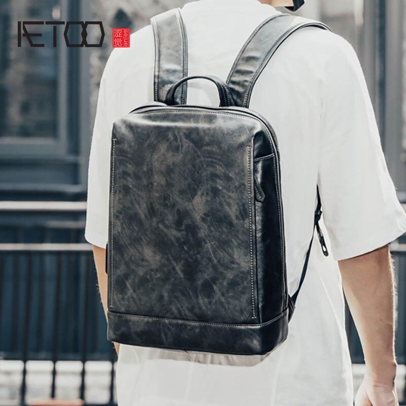 AETOO кожаная сумка на плечо, мужской повседневный деловой рюкзак, мужская кожаная дорожная сумка для компьютера