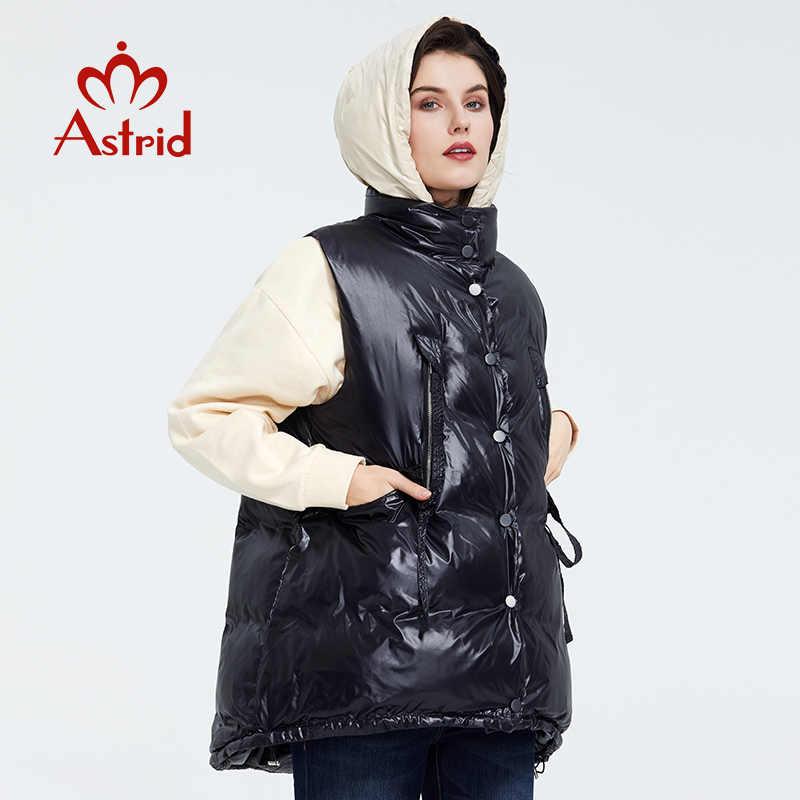 Astrid 2020 봄 가을 여성 민소매 파카 코트 웜 자켓 여성 얇은면 루즈 후드 블랙 코튼 조끼 ZR-7219