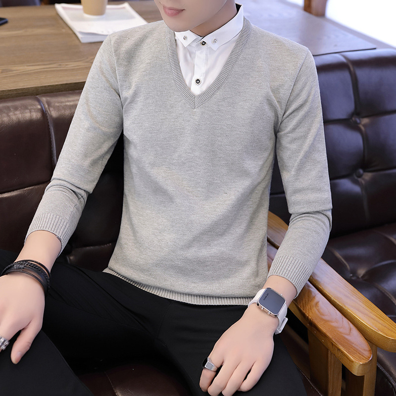 False Two Sweater Men Red Gray Black Teenagers Long Sleeve Spring Autumn Pullovers Turn-down Collar Casual Mens Sweater New
