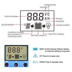 Image 3 - Dokio 12/24v 10A/20A/30A PWM Solar Controller For Solar Panel LCD Display Solar Regulator With USB Socket