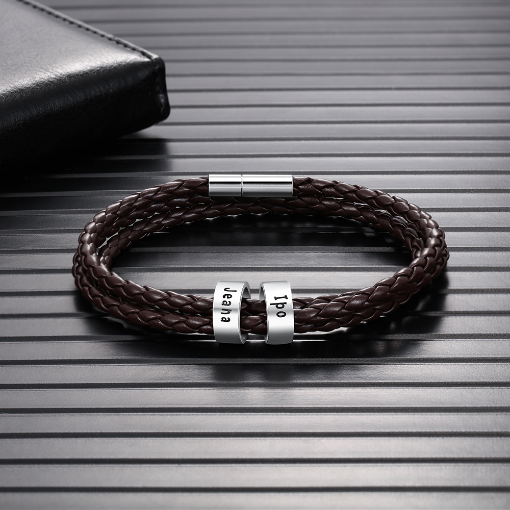 Mens Brown Braid Rope Bracelet With Custom Family Names Beads Magnetic Clasp Wrap Bracelets & Bangles Wristband Gifts For Men