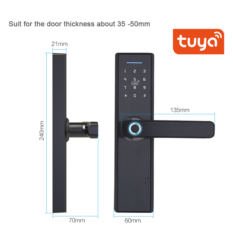 TUYA APP Operated Smart Fingerprint Padlock with Password Protected Lock for Home and Office Door 3