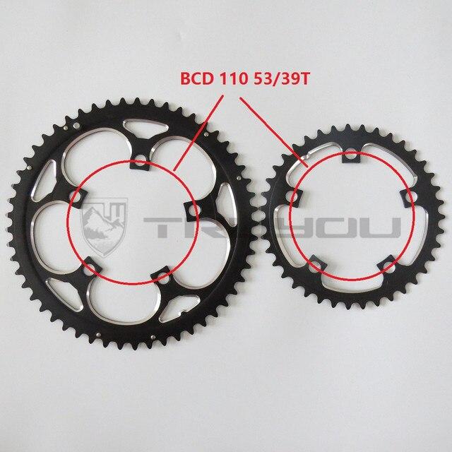 "TRUYOU כביש גלגל BCD 110 53T 39T הכפול דיסק Chainwheel מתקפל אופני Chainring אלומיניום כפול מהירות CNC 3/32"""