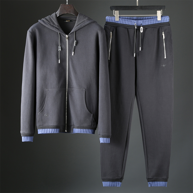 JSBD Heavy Quality Goods Spider Embroidery Knitting Contrast Color Autumn Winter Thick Men's Hooded Casual Sports Suit