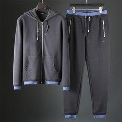 JSBD zware kwaliteit goederen spider borduren breien contrast kleur herfst winter dikke mannen hooded casual sport pak