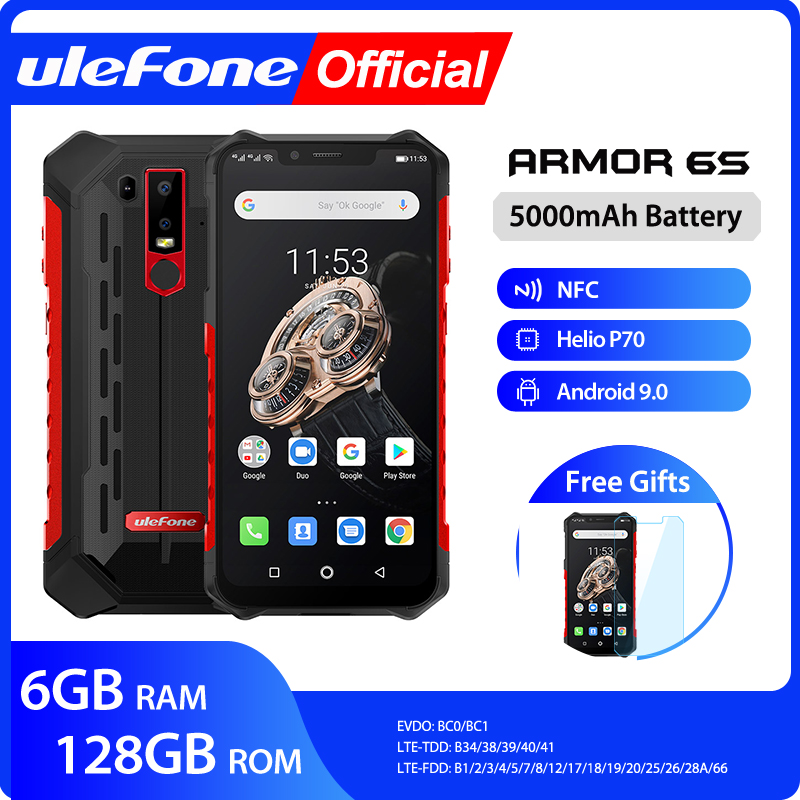 Ulefone Armor 6S Waterproof IP68 NFC Rugged Mobile Phone Helio P70 Android 9.0 6GB 128GB Wireless Charge Smartphone