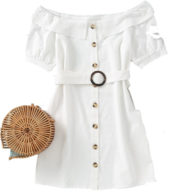 New women sexy off shoulder short sleeve white mini dress female breasted buttons sashes vestido chic casual slim dresses DS3847