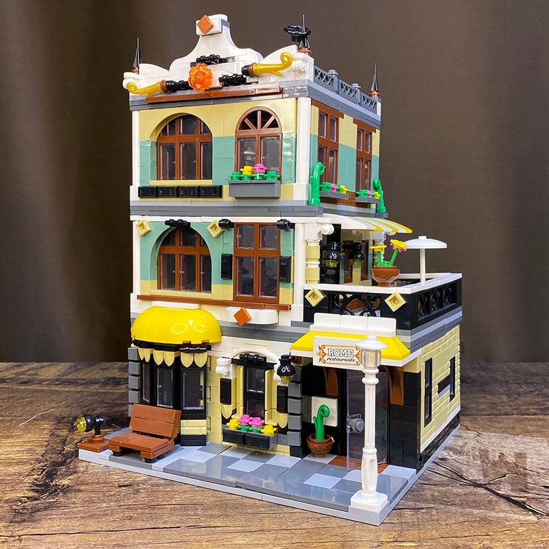Creator Expert Street View QL0940 Gardon Hotel 1316Pcs Model Modular Moc Building Blocks Bricks Grand Emporium Pet Book Shop 7