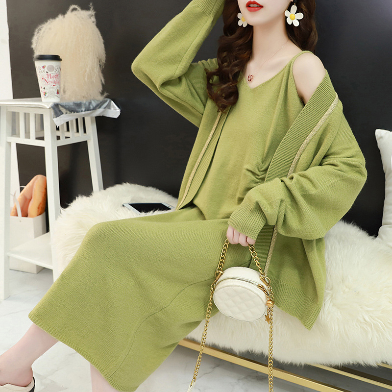 Spring And Autumn Online Celebrity Laziness-Style 2019-Women's Shawl Set Two-Piece Set Long Over-the-Knee Knitted Vest Dress
