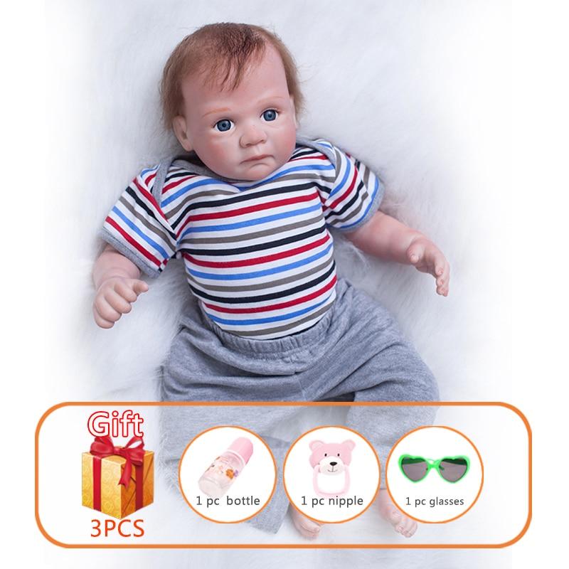 20 Polegada reborn bonecas de brinquedo do bebê boneca de silicone simulação macio recém-nascido lifelike bebês bebê reborn brinquedos para o miúdo