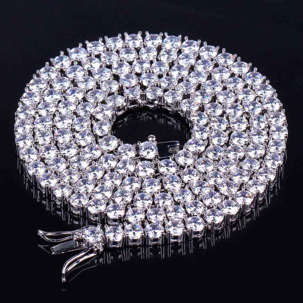 Hiphop Choker Bling Iced Out Rhinestones Necklace For Men 3mm 4mm 6mm Width Silver/Rose Gold/Gold 1 Row Tennis Chains