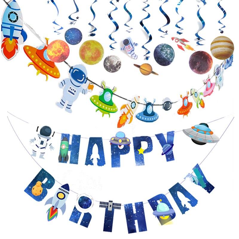 1 Set Weltraum Thema Dekoration Banner Luftballons UFO Raumschiff Astronaut Bunting Hängen Banner Boy Kinder Geburtstag Party Favors
