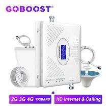 GOBOOST 70dB GSM משחזר 2G 3G 4G מגבר אות 900 1800 2100 Tri Band מגבר נייד LTE 2600 נייד טלפון מגבר סט