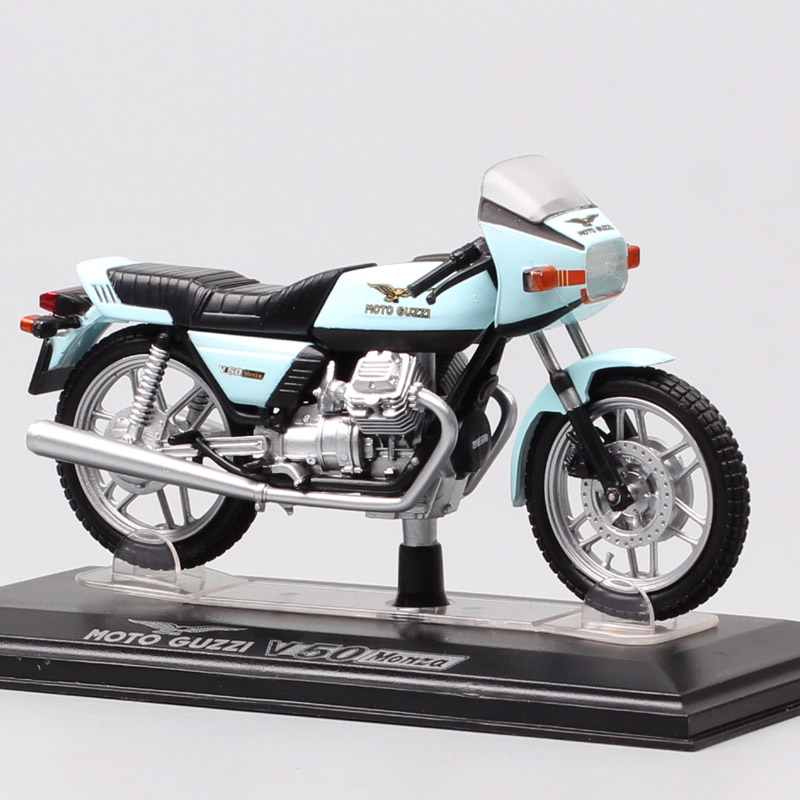 Kids 1:22 Scale Classic Small Starline Moto Guzzi V50 Monza Moto Bike Diecast Motorcycle Model Toy  1977 Hobby Gifts Acrylic Box