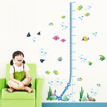 Underwater Fish Bubble Height Measure Wall Stickers Children Growth Chart For Kids Room Mural Art Nursery Cartoon Decals Gift