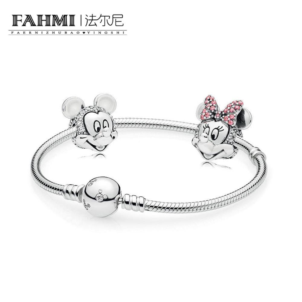 FAHMI 100% 925 Sterling Silver New Cartoon Fairy Tale Safety Clip Bracelet Set Suitable For Winter Women's Gift Jewelry RAU0542