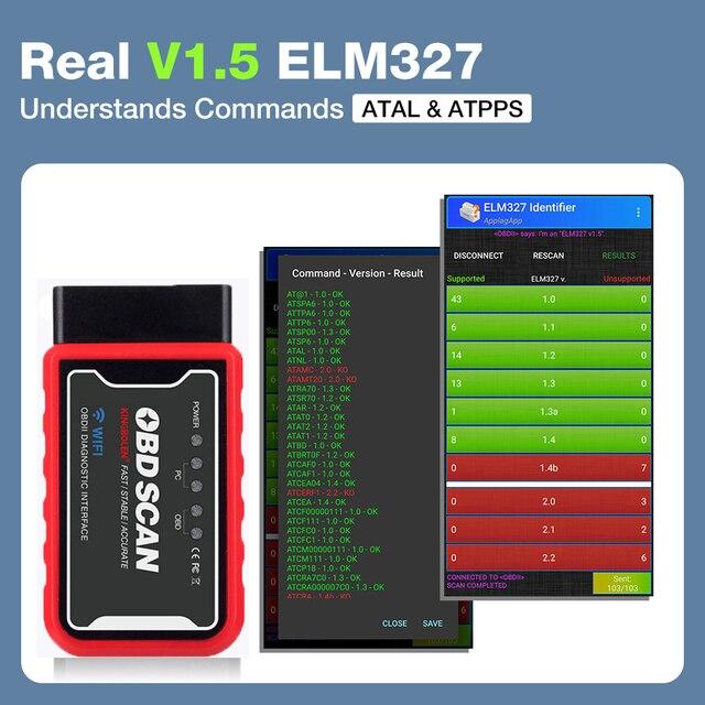 ELM327 WiFi/Bluetooth V1.5 PIC18F25K80 Chip OBDII Diagnostic Tool IPhone/Android ELM 327 V 1.5 ICAR2 OBDSCAN Scanner Code Reader 3