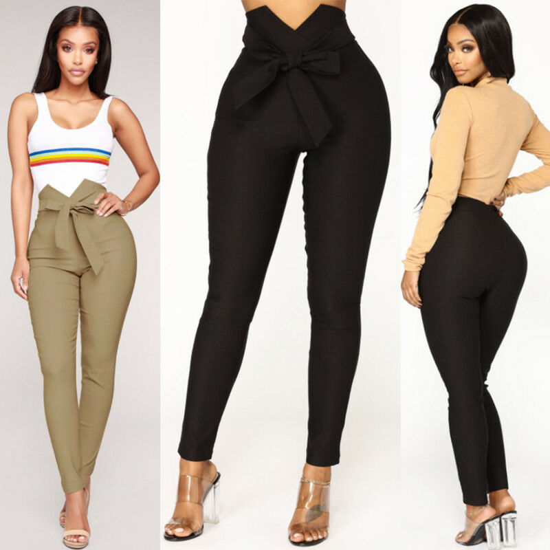 Women Skinny bow knot tied Pencil Pants High Waist Stretch Slim Cotton Jogger solid color Trousers Bottom