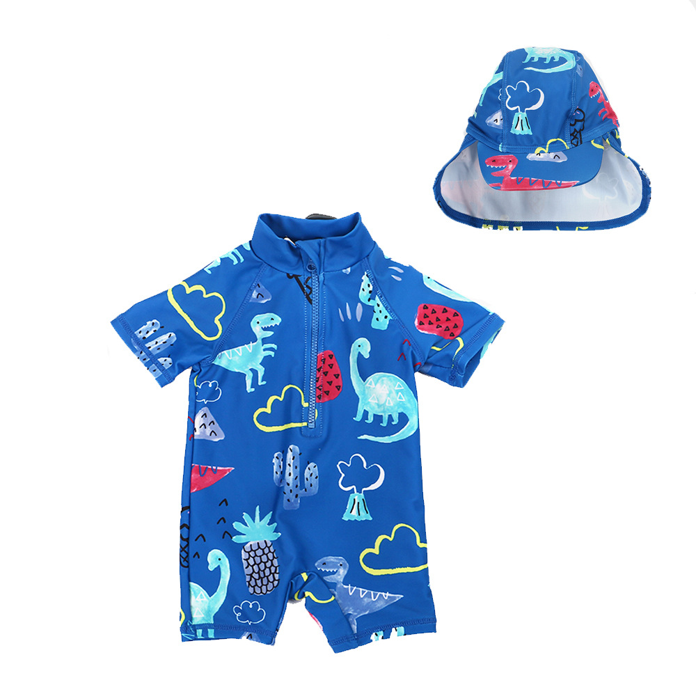 2019 New Style BOY'S Swimsuit Dinosaur Printed One-piece Hooded Swimwear Male Baby High Quality Safe Quick-Dry Diving Suit