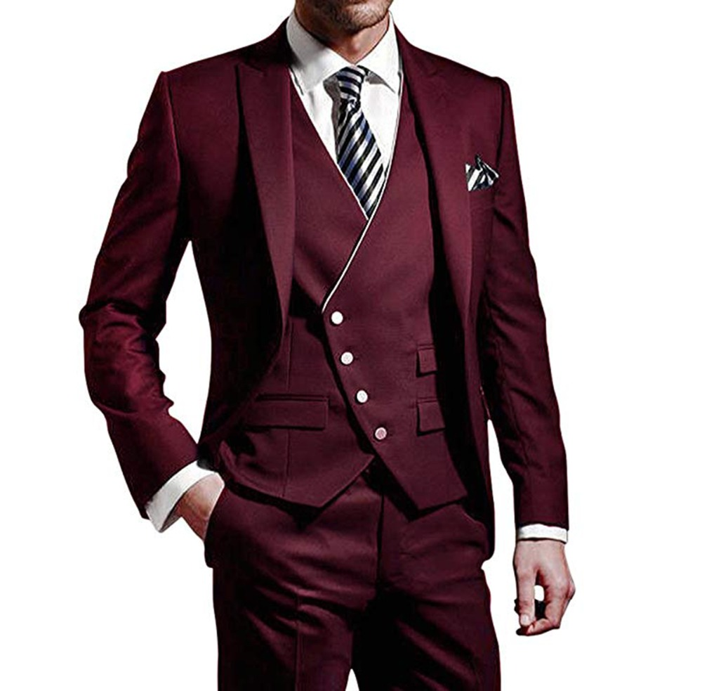 Three Pieces Men Suits Notched Lable Burgundy Groomsuit Blazer One Button Formal Business Suits Groom Tuxedos(Jacket+Pants+Vest)