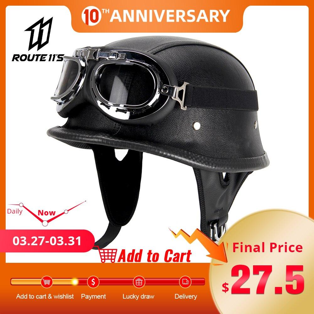 Motorcycle Helmet Leather Helmet For Motorcycle BLACK Motorcycle Open Face Half Helmet Retro Moto Helmet Summer Casco Moto DOT