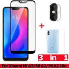 3-in-1 Tempered Glass for Xiaomi Mi A3 A2 Lite Camera Redmi 7 A 7A Screen Protector Film