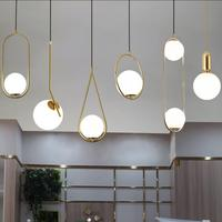 미국 유리 공 펜 던 트 조명 철 후프 교수형 램프 침실 카페 레스토랑 바 실내 조명 장식 전등|인테리어 라이트|   -