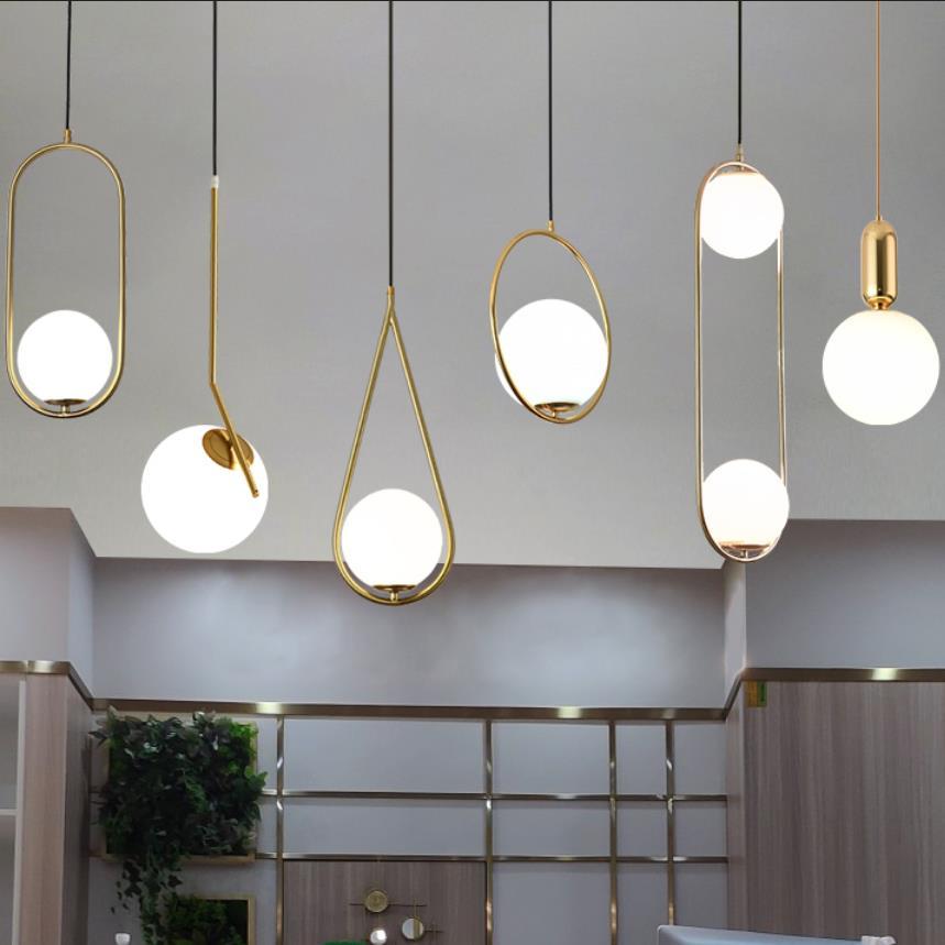 American Glass Ball Pendant Lights Iron Hoop Hang Lamp For Bedroom Cafe Restaurant Bar Indoor Lighting Decoration Light Fixtures