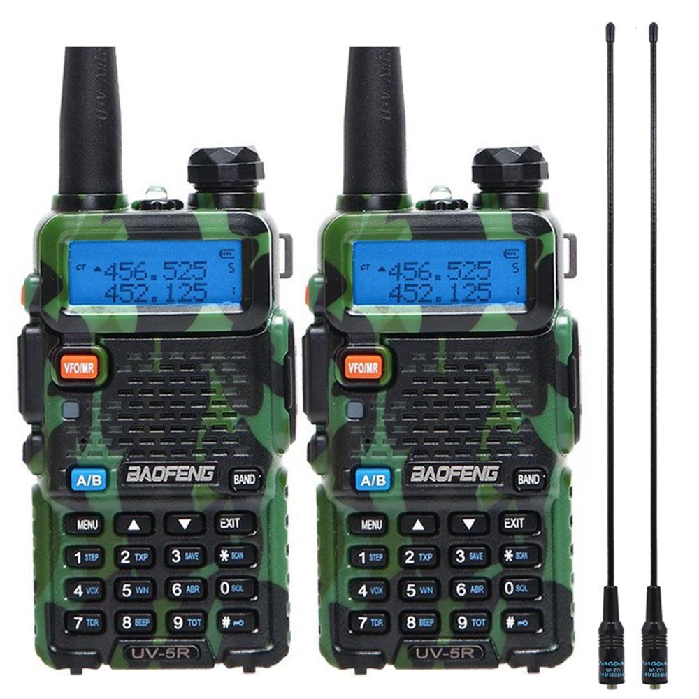 2 шт. Baofeng BF-UV5R Любительское радио портативная рация Pofung UV-5R 5 Вт VHF/UHF радио двухдиапазонное двухстороннее радио UV 5r CB радио - Цвет: camo add 771antenna
