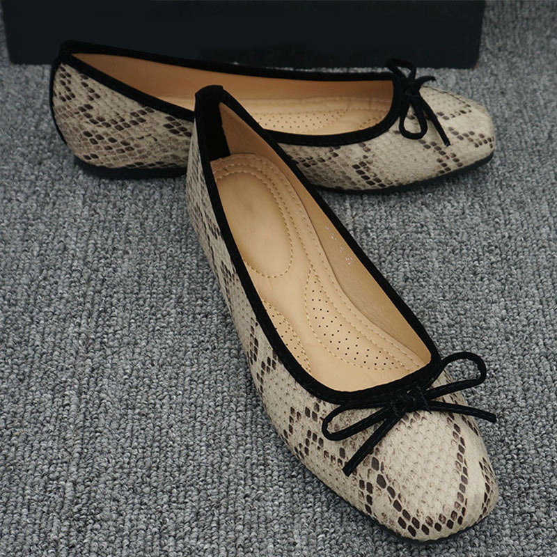 MCCKLE femmes décontractée chaussures plates mode serpent PU noeud papillon sans lacet femme mocassins dames peu profonde confort unique chaussures 2020