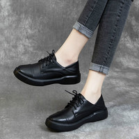 Women Leather Flats Plus Size Black Casual Shoes Lace Up Low Heels Handmade Genuine Leather Women Flats Soft Spring Shoes 42