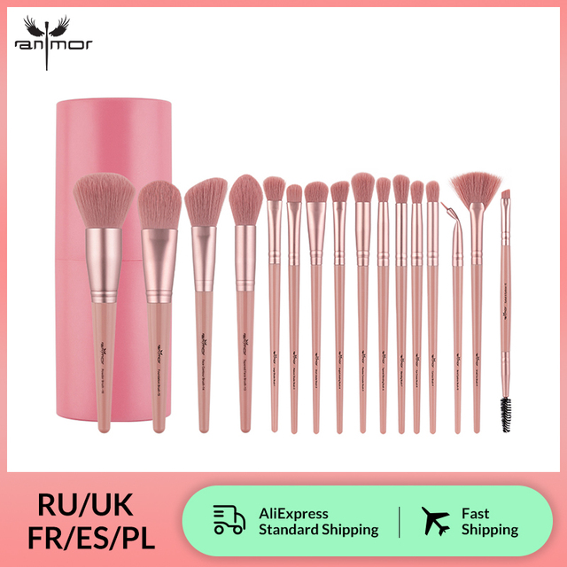 Anmor 4/12/16 Pcs Makeup Brushes Set Professional Make Up Brush For Eyeshadow Foundation Powder Eyeliner Eyelash With Cylinder