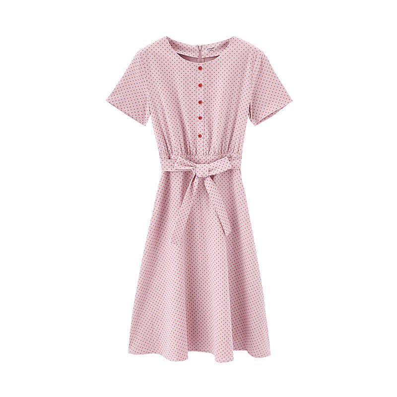 INMAN 여름 새로운 도착 빈티지 도트 나비 넥타이 허리 벨트 휴일 스타일 드레스