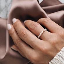 Momiji pérola anéis para mulheres elástico ajustável artesanal moda jóias com pérola de aço inoxidável frisado anéis presentes de casamento