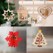 Pendants-Ornaments Decorations Tree Gifts Wooden Star DIY Kids Home Red Christmas-Snowflakes