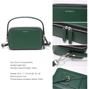 Image 3 - NEVEROUT ブランドの小さなハンドバッグ分割レザーショルダークロスボディバッグハンドルと女性ジッパーフラップバッグブラック/ グリーン/グレー