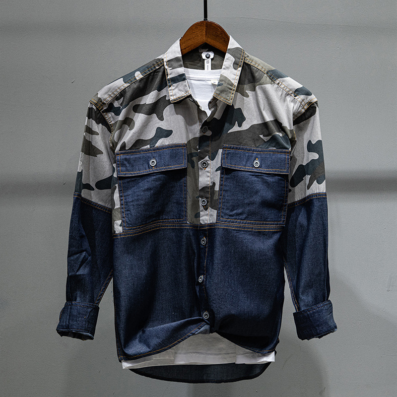 Spring Fall Fashion Men Korean Stylish Camouflage Denim Patchwork Loose Casual Long Sleeve Shirt Military Style Two Pockets Tops