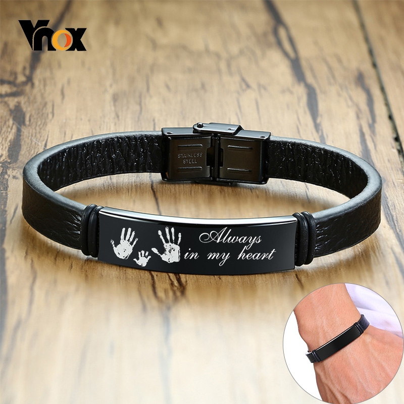 Vnox Personalized Men Bracelets 12mm Stainless Steel ID Bar Leather Bangle Customize Name Anniversary Gift For Him