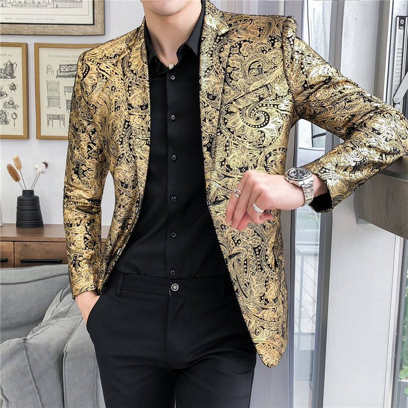 Luxury Gold Striped Print Blazer Street Casual Men's Slim Suit Jacket Nightclub Prom Dress Evening Dress Sleek Suit Jacket M-5XL